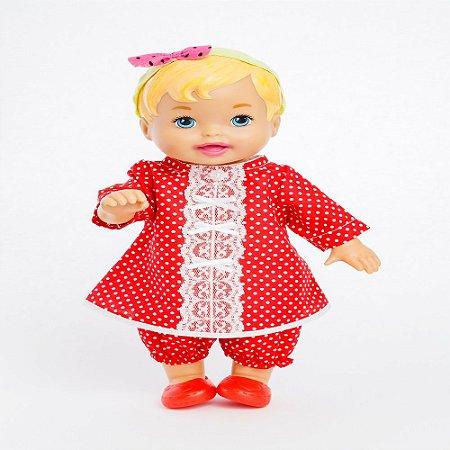 Roupa para Boneca - Vestido Poá Vermelho - Veste Bonecas tipo Baby Alive - Cantinho da Boneca