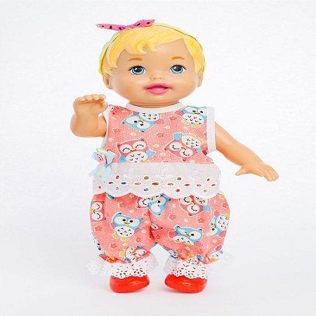 Roupa para Boneca - Conjunto Corujinha - Veste Bonecas tipo Baby Alive - Cantinho da Boneca