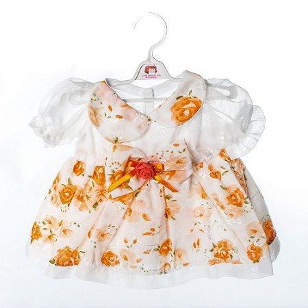 Roupa para Boneca - Vestido Laranja - Cantinho da Boneca