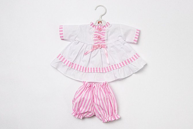 Roupa para Boneca - Camisola Rosa e Branco - Cantinho da Boneca