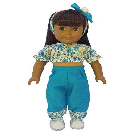 Roupa para Boneca - Kit Conjunto Azul - Veste Bonecas tipo American Girl e Our Generation - Cantinho da Boneca