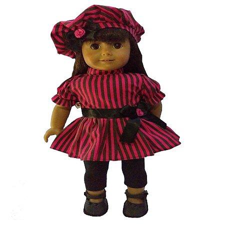 Roupa para Boneca - Kit Conjunto Pink e Preto - Veste Bonecas tipo American Girl e Our Generation - Cantinho da Boneca