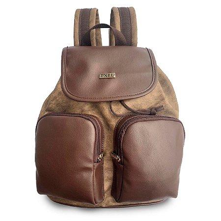 Mochila Feminina Marrom com dois bolsos externos EX1060