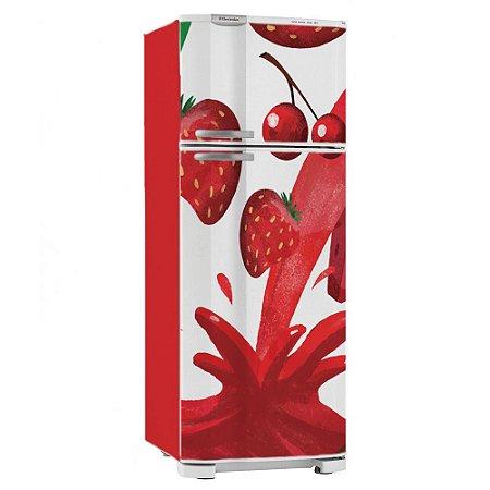 Adesivo Envelopamento Geladeira Frutas Morango