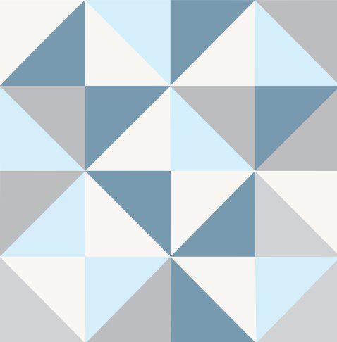 Papel de Parede Adesivo - Geométrico Azul Claro Escuro Cinza - Elite 2