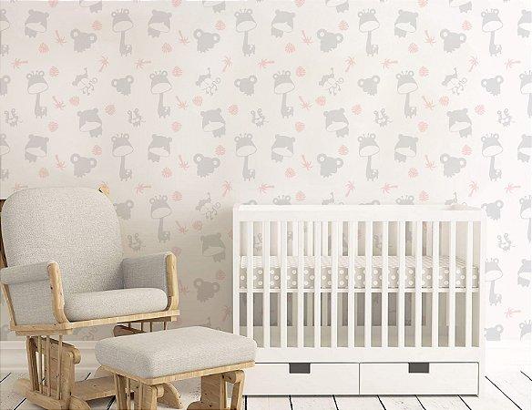 Papel de Parede Adesivo - Safari Cinza e Rosa Quarto Infantil