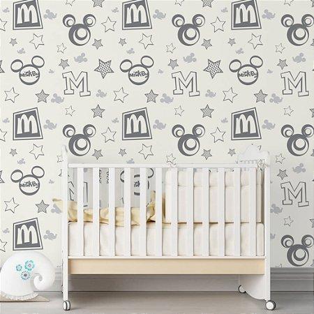 Papel de Parede Adesivo - Mickey Mouse Disney Cinza e Branco