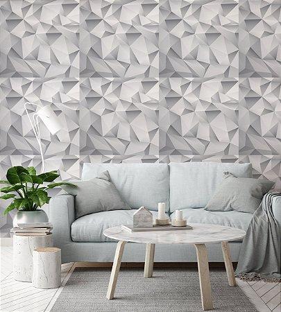Papel de Parede Adesivo 3D - Estilo Gesso Branco Cinza Triângulos Cristal