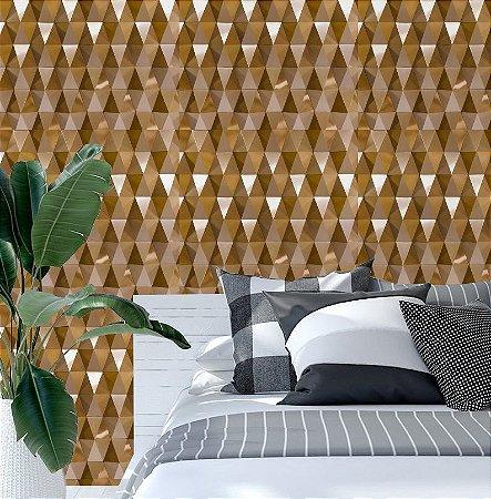 Papel de Parede Adesivo 3D - Dourado Gold - Diamantes
