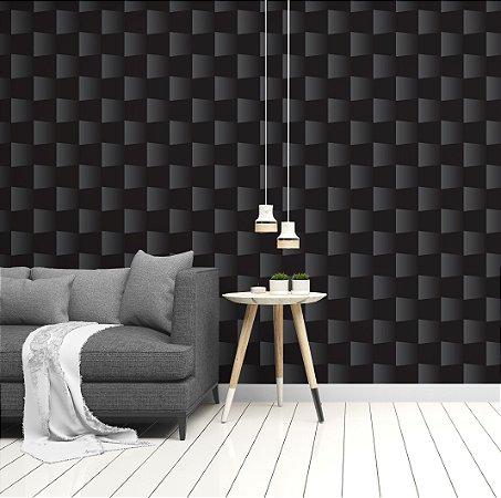 Papel de Parede Adesivo 3D - Tijolinho Preto Estilo Gesso - Nobre Black