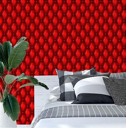 Papel de Parede Adesivo 3D - Almofadado Vermelho Couro - Red Fire