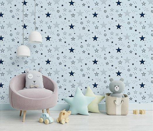 Papel de Parede Adesivo Feito Estrelas Star Fundo Azul