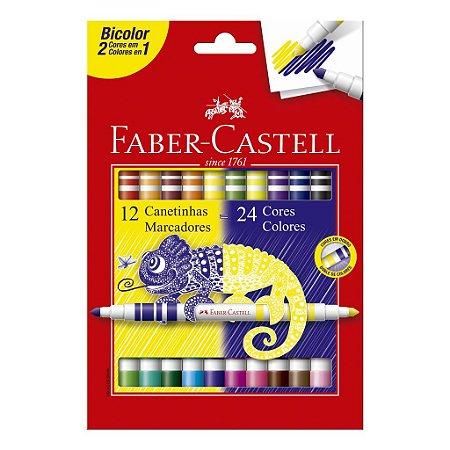Caneta Hidrográfica 24 Cores (12 Bicolor) Faber Castell