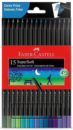 Lápis de Cor SuperSoft 15 Cores Frias Faber Castell