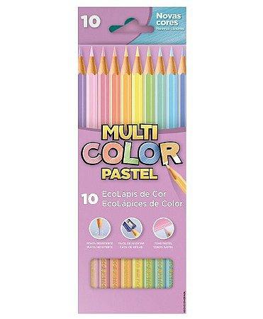 Lápis de Cor Sextavado 10 Cores Tom Pastel Multicolor