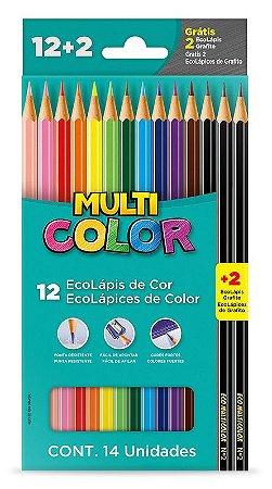 Lápis de Cor Sextavado 12 Cores Multicolor