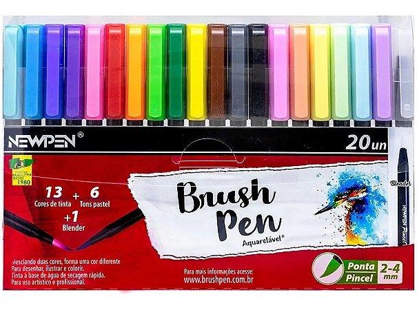 Caneta Newpen Pincel Brush Pen Blender - 20 Cores