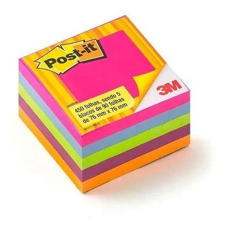 Bloco Adesivo Post-it  3M Cubo Tropical  654 - 76x76 450 Folhas