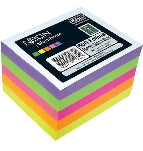 Papel Lembrete  Tilibra Colorido Neon Tilembrete com 600 Folhas - 75g