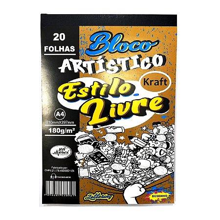 Bloco Artístico Estilo Livre Merci A4 Kraft 180gr - 20 Folhas