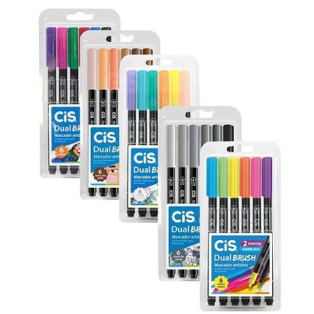 Caneta Brush Pen Cis Dual 2 Pontas Aquarelável - 6 Cores