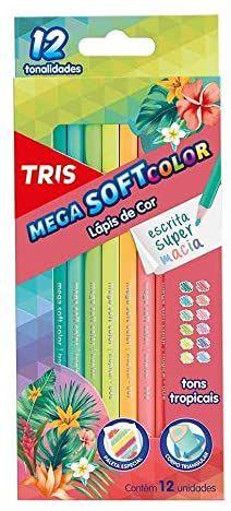 Lápis de Cor Tris Mega Soft Tons Tropicais 12 Cores