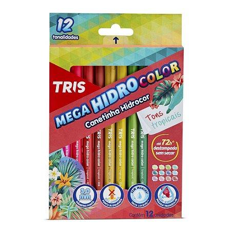 Canetinha Hidrocor Tris Mega Hidro Tons Tropicais 12 Cores