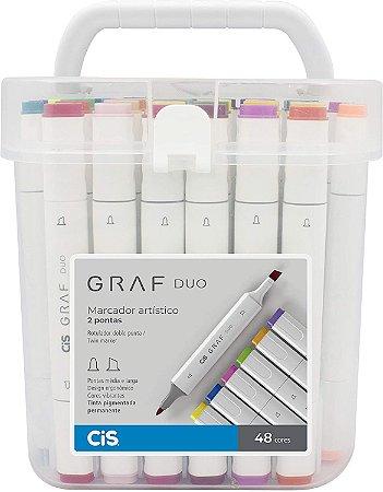 Caneta Artística Cis Graf Duo - 48 Cores