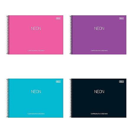 Caderno De Cartografia E Desenho Neon 80 Folhas Tilibra