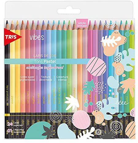 Lápis De Cor Vibes Tons Pastel 24 Cores Tris
