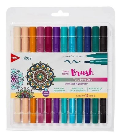 Caneta Brush Pen Vibes Tris - 12 Cores
