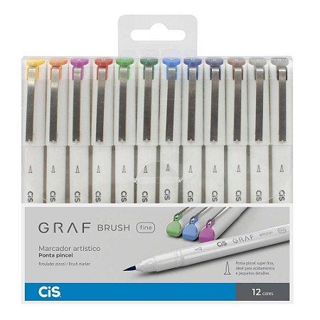 Caneta Marcador Artístico Brush Pen Fine Cis Graf 12 Cores