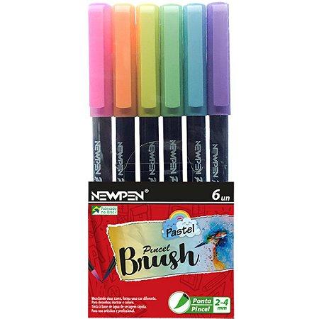 Caneta Brush Pen Tom Pastel 6 Cores Newpen