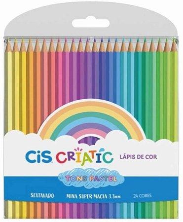 Lápis De Cor Tons Pastel Criatic 24 Cores Cis