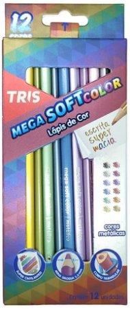 Lápis de Cor Mega Soft Metálico 12 Cores Tris
