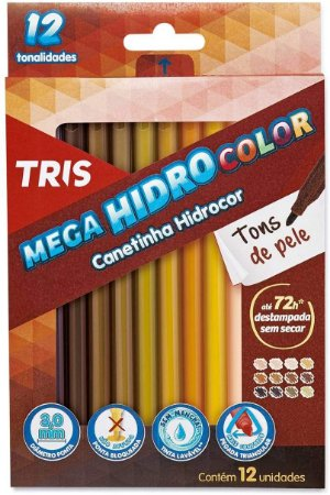 Canetinha Hidrocor Tris Mega Hidro Tons De Pele 12 Cores