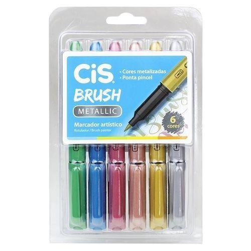 Caneta Brush Pen Metálica 6 Cores Cis