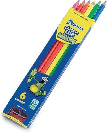 Lápis De Cor Neon 6 Cores Norma
