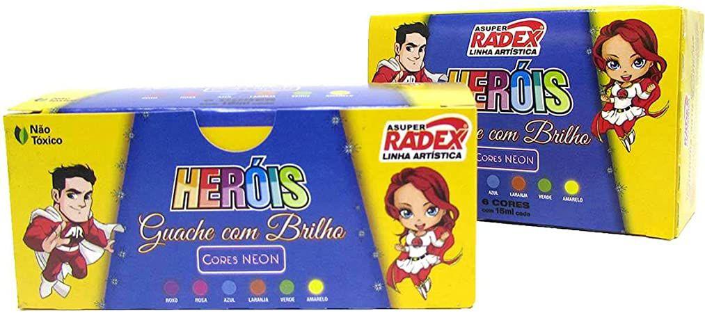 Tinta Guache 6 Cores Com Brilho 15ml Radex