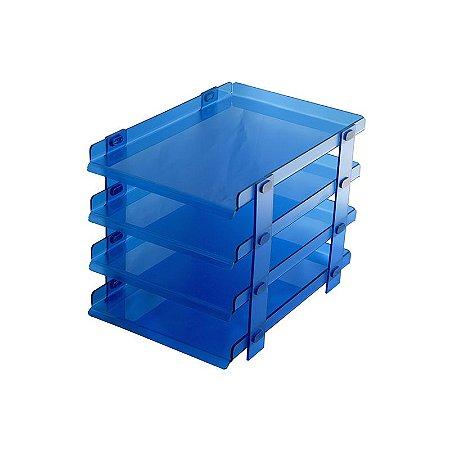 Organizador de Escritório para Mesa Azul 4 andares