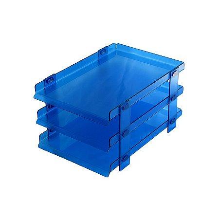 Organizador de Escritório para Mesa Azul 3 andares