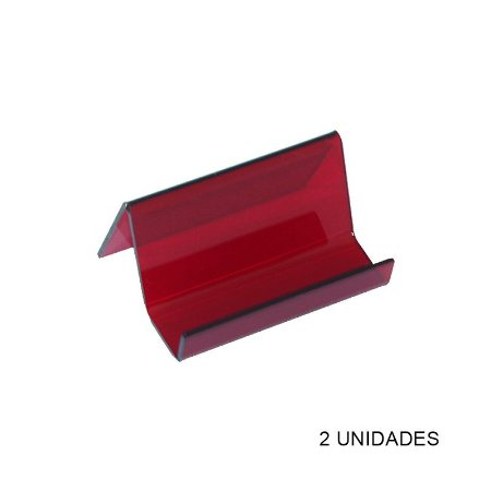 Kit Porta Cartão de Visita de Mesa Vermelho - 2 unidades