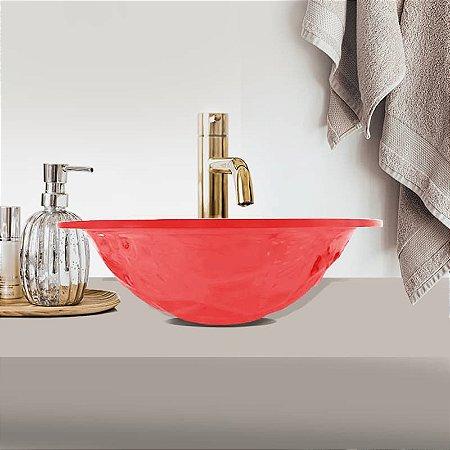 Cuba Pia de Apoio Banheiro Acrílico Vermelho Translúcido