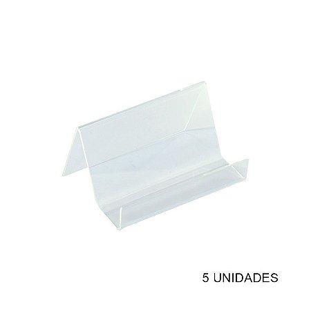 Kit Porta Cartão de Visita de Mesa Transparente - 5 unidades