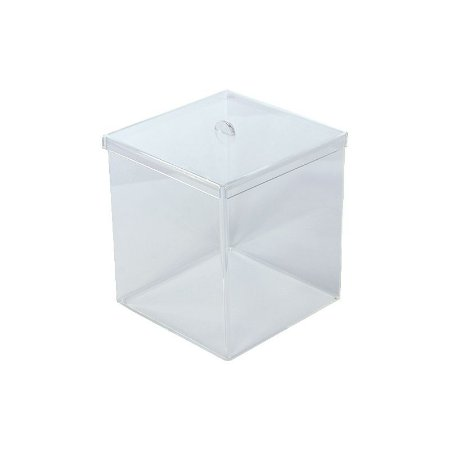 Kit Pote Caixa Acrílico 8L Transparente Quadrado Granel - 5 unidades