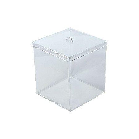 Kit Pote Caixa Acrílico 20L Transparente Quadrado Granel- 5 unidades