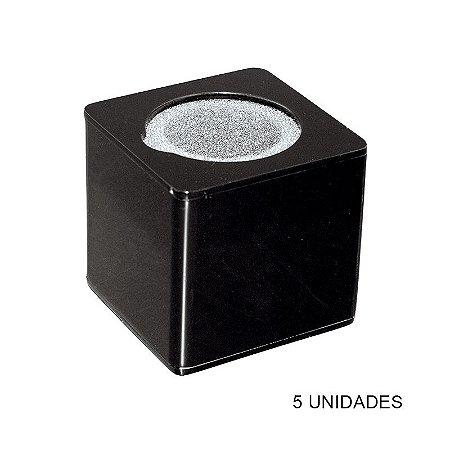 Kit Canopla Preta p/ Microfone Acrílico c/ Esponja - 5 un