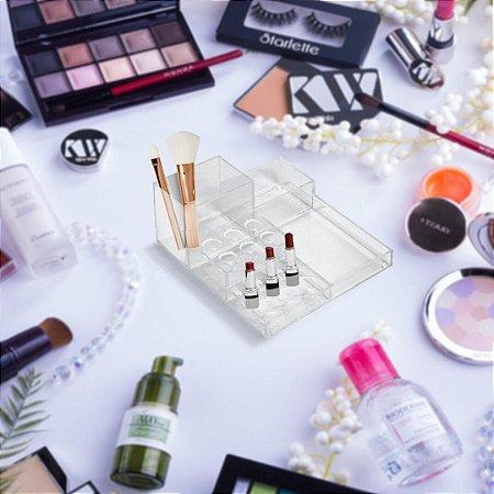 Organizador de Maquiagem e Pincéis de Acrílico Transparente