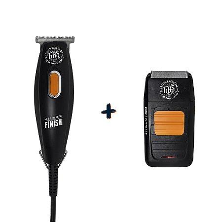 1 Máquina de Acabamento GBS Ga.ma Barber Series Absolute Finish  Bivolt + 1 Barbeador GBS Ga.ma Barbear Series Absolute