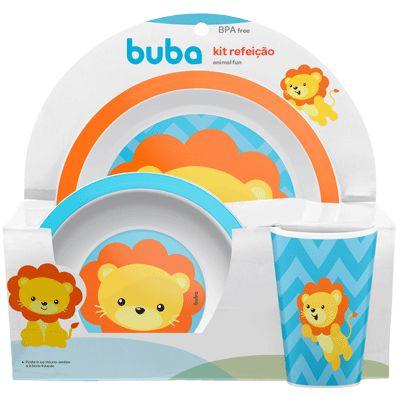 Kit Alimentação Infantil Animal Fun Leão - 3 Peças